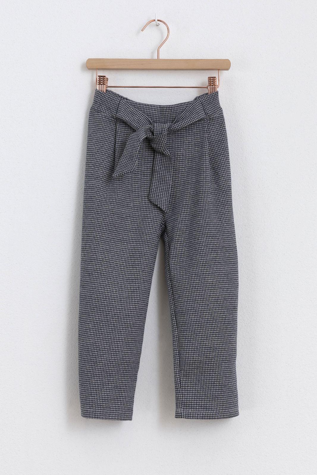 Blauw/wit geruiten broek met strik