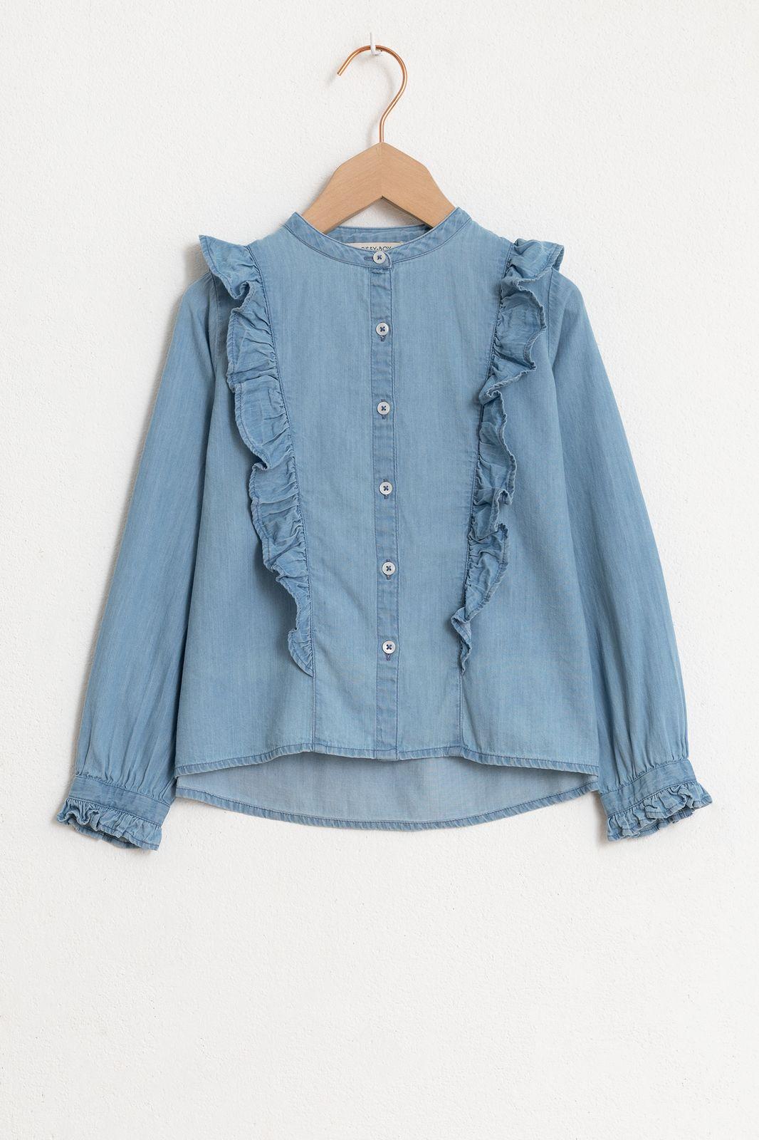 Denim blouse met lange mouw en ruffles - Kids | Sissy-Boy