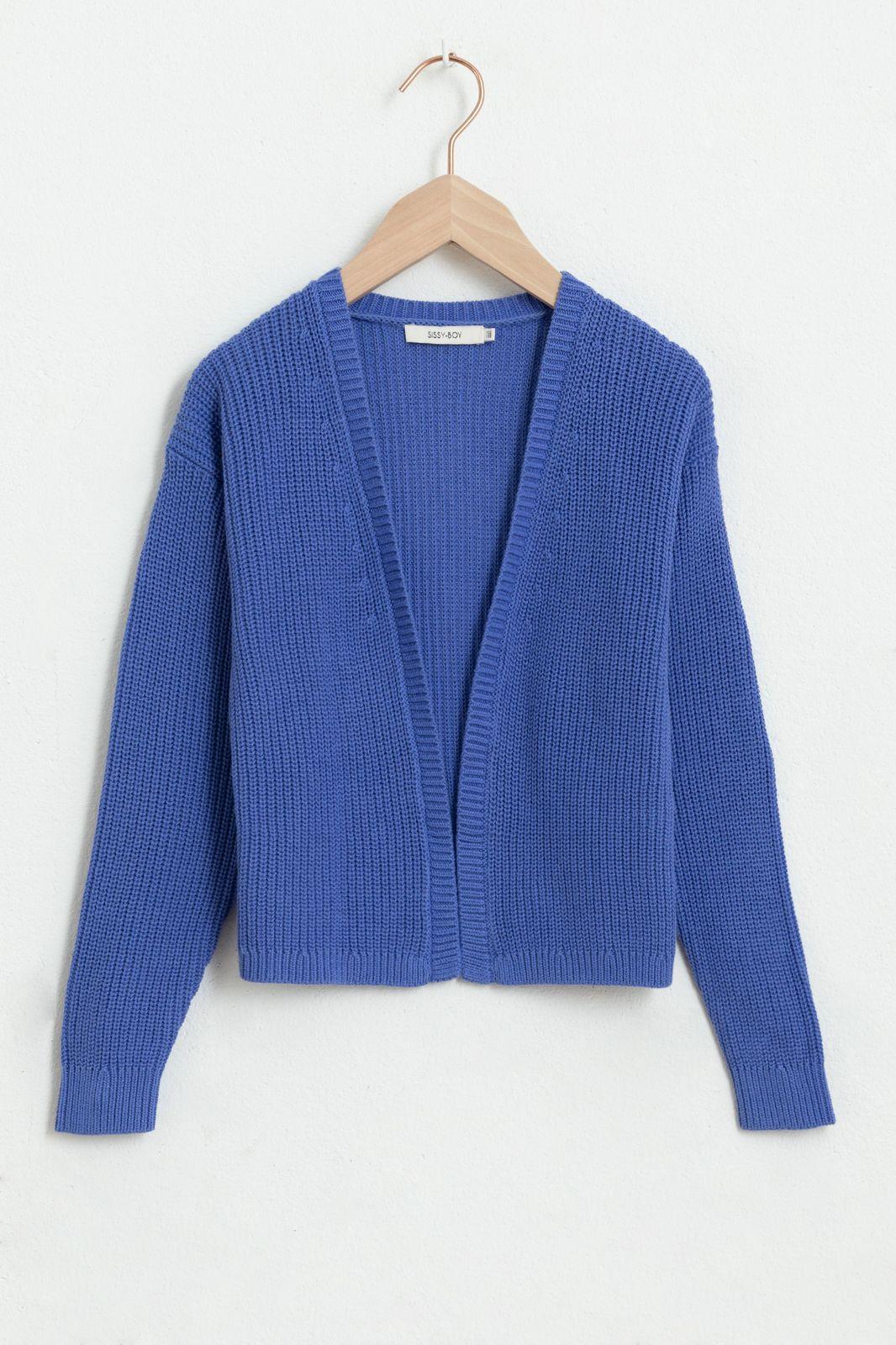 Blauw gebreid vest