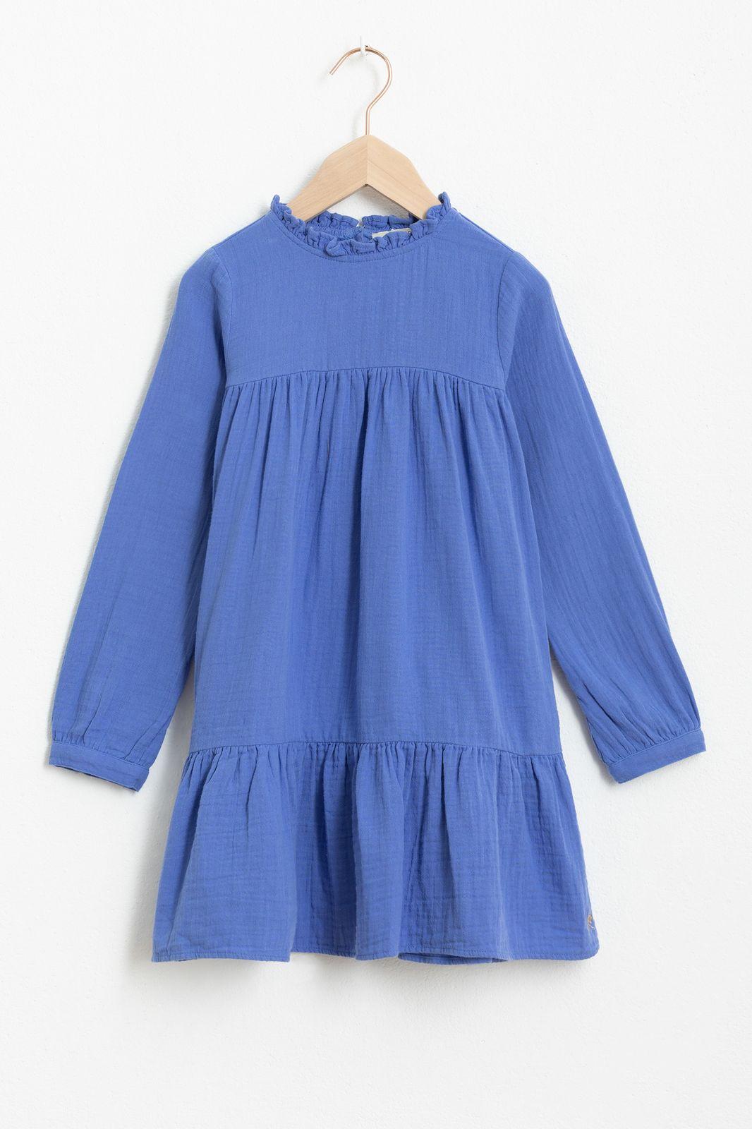 Blauwe mousseline jurk met ruffles - Kids | Sissy-Boy