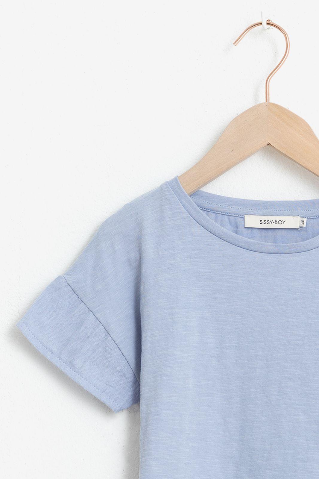 Blauw T-shirt met korte ruffle mouwen