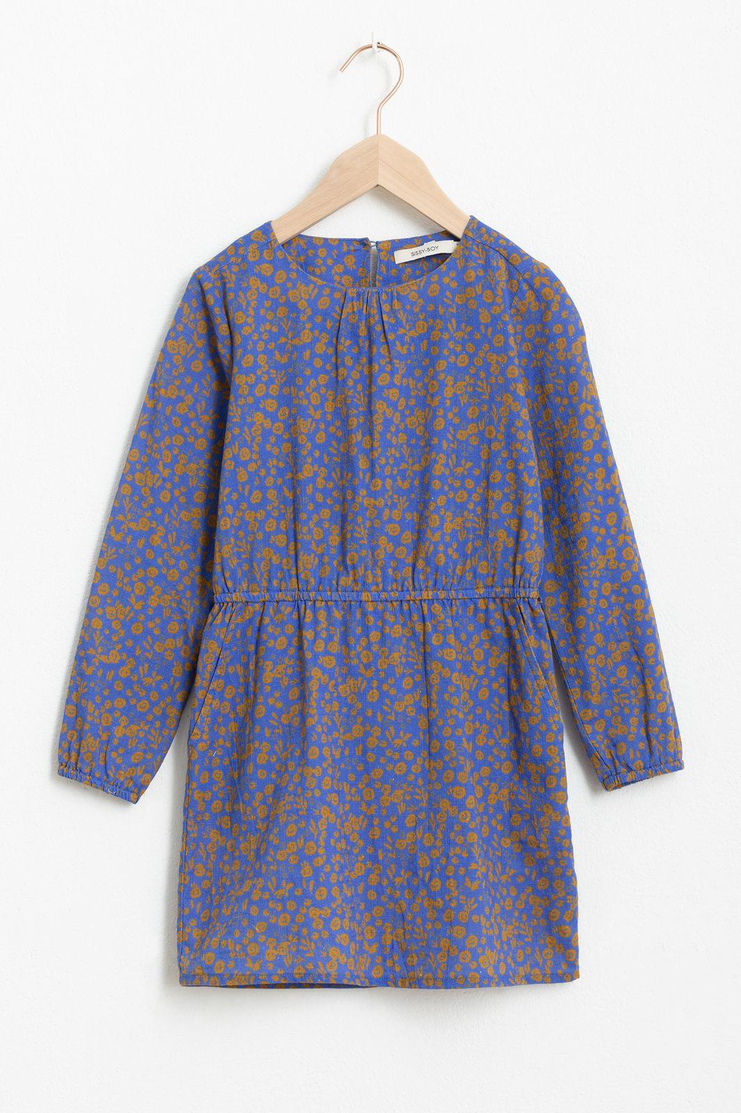 Blauw jurkje met lange mouw en all over print
