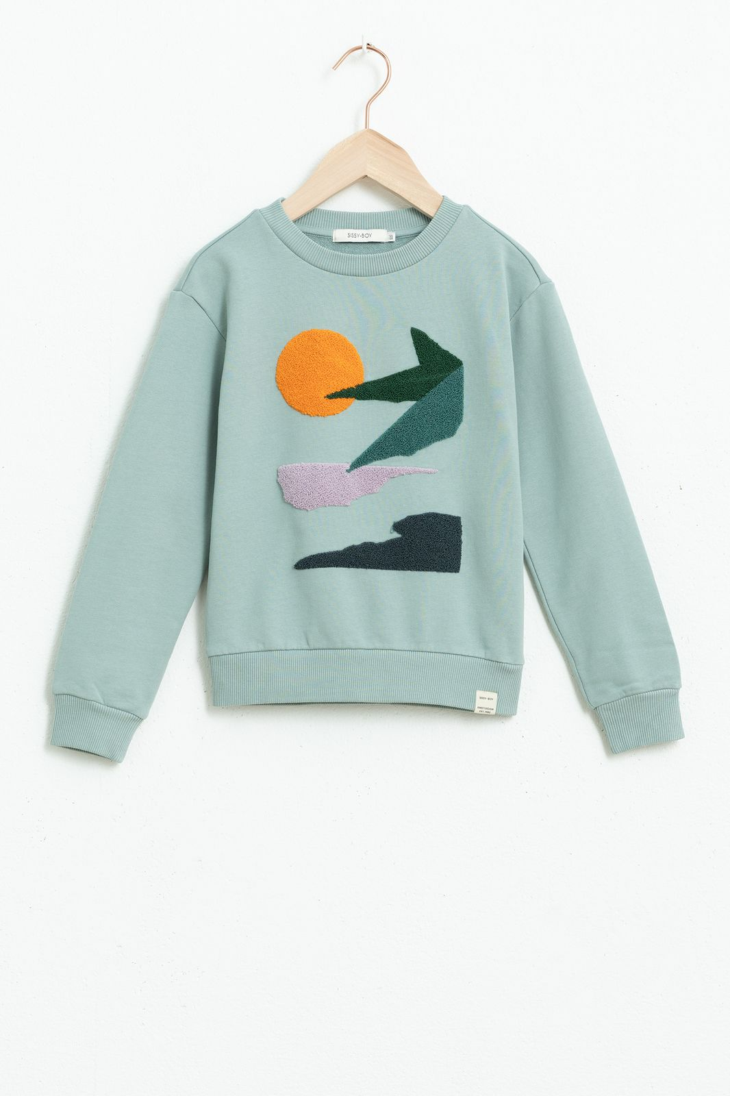 Blauwe sweater met sunset borduursels - Kids | Sissy-Boy