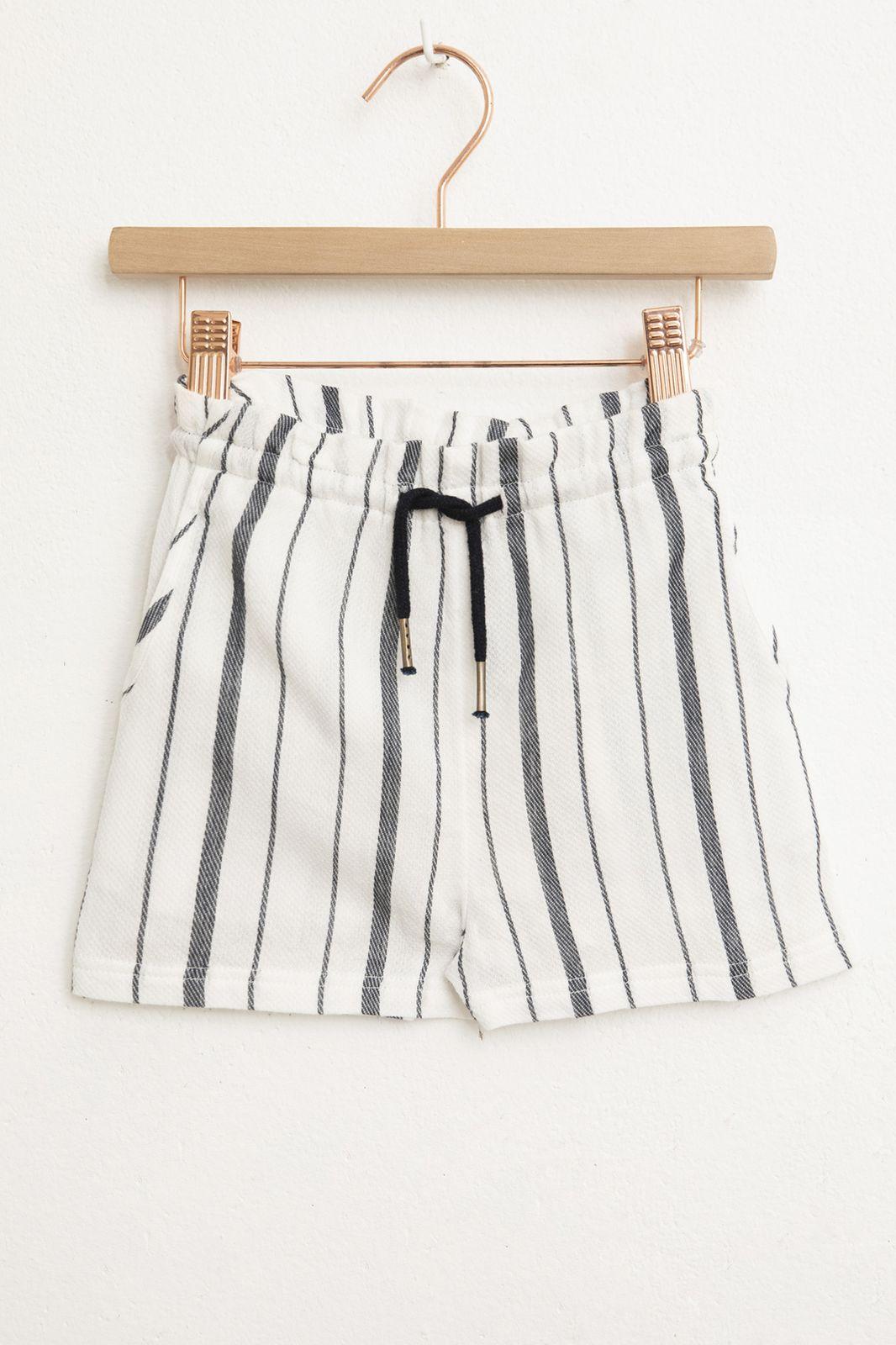 Wit met blauw gestreepte paperbag shorts - Kids | Sissy-Boy