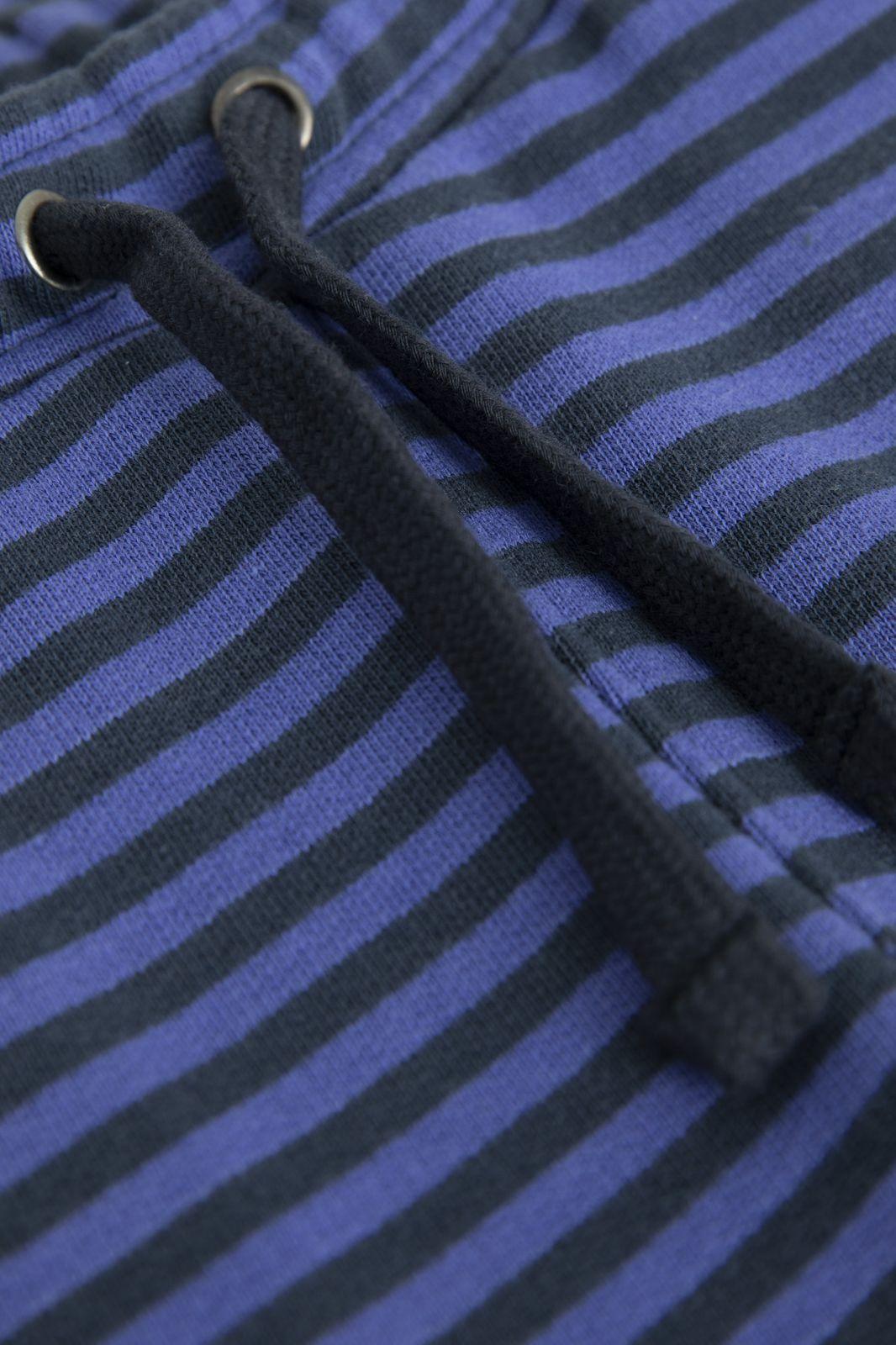Donkerblauwe sweat shorts gestreept