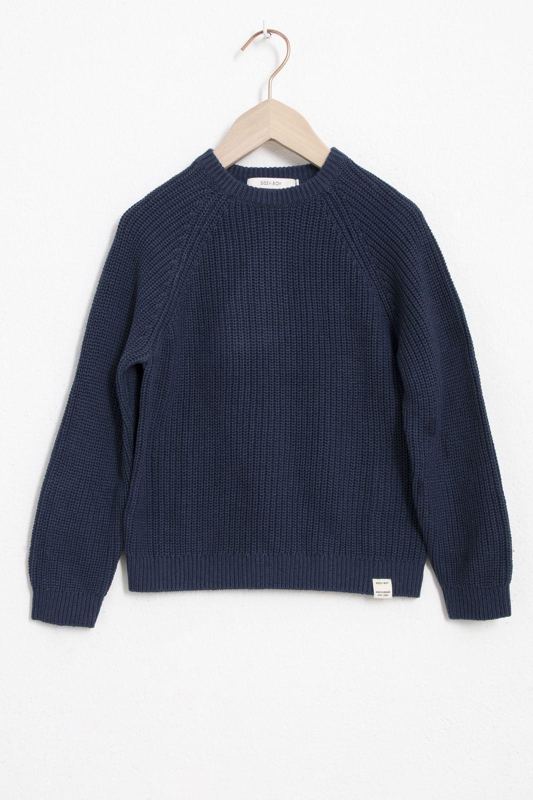 Donkerblauwe cardigan stitch sweater - Kids | Sissy-Boy