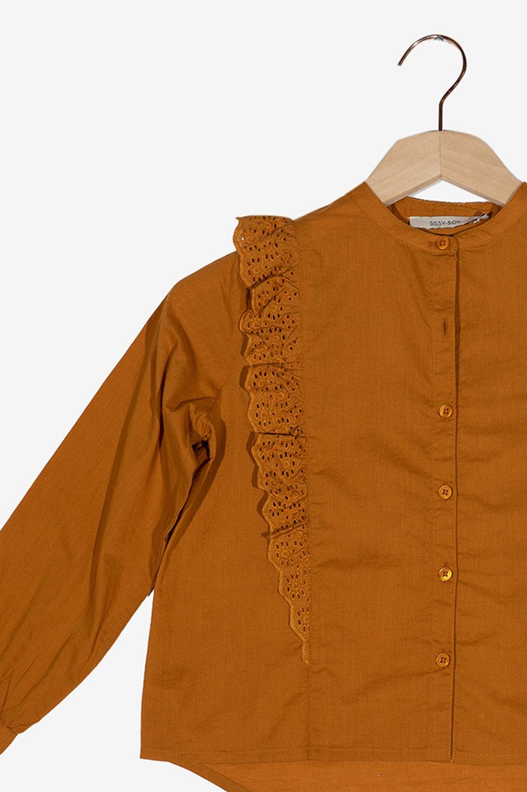 Bruine ruffle blouse
