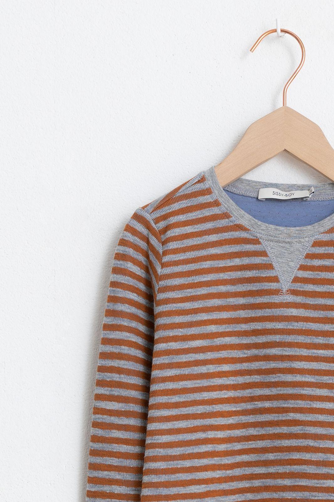 Oranje/bruin gestreept t-shirt lange mouwen