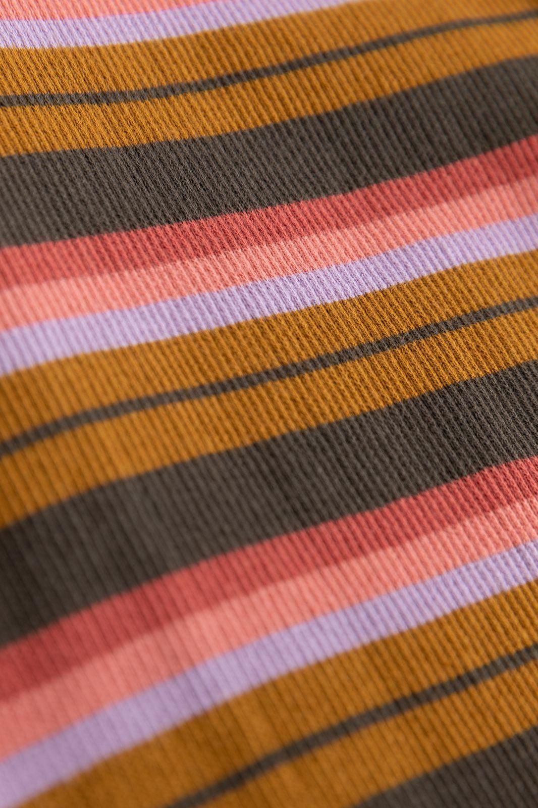 Multicolor gestreept rib T-shirt met lange mouw