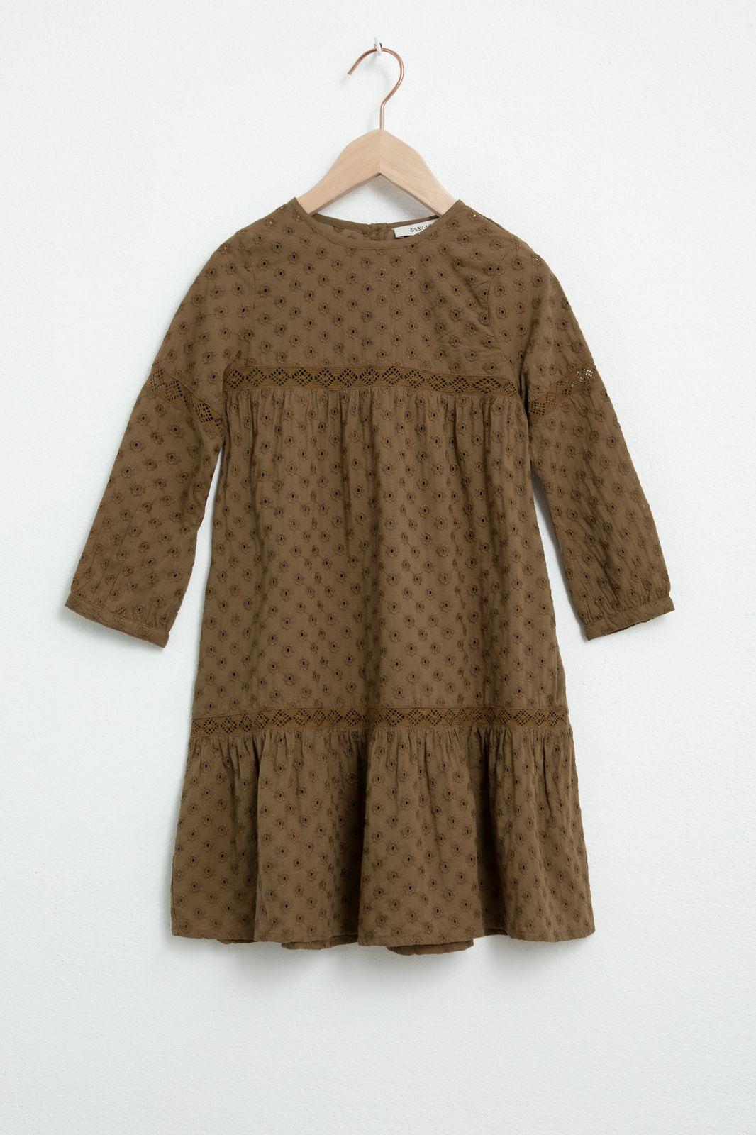 Bruin broderie anglaise jurk met lange mouw - Kids | Sissy-Boy