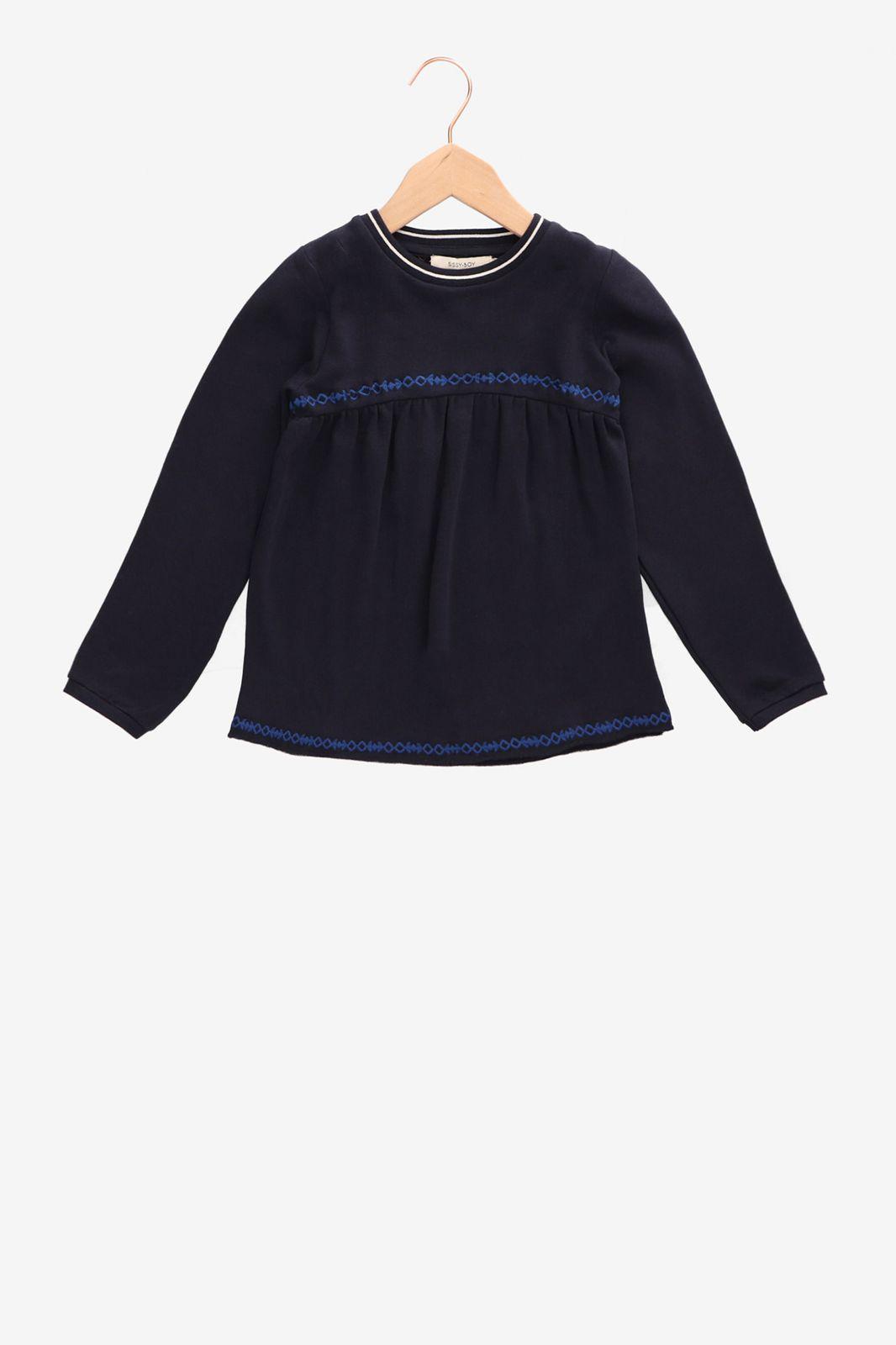 Donkerblauwe sweater met borduursels - Kids   Sissy-Boy