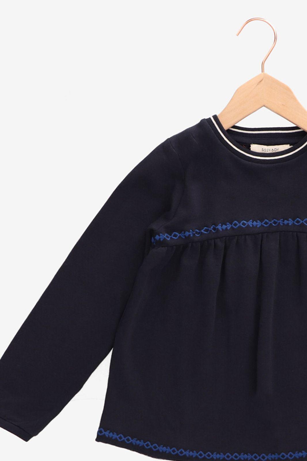 Donkerblauwe sweater met borduursels - Kids | Sissy-Boy