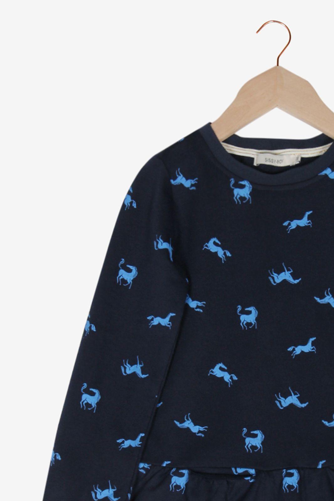 Donkerblauwe jurk met paardjes - Kids | Sissy-Boy