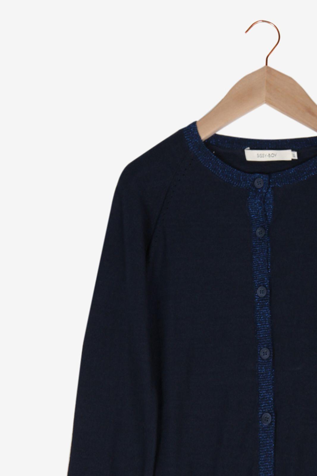 Donkerblauw vest met lurex boord