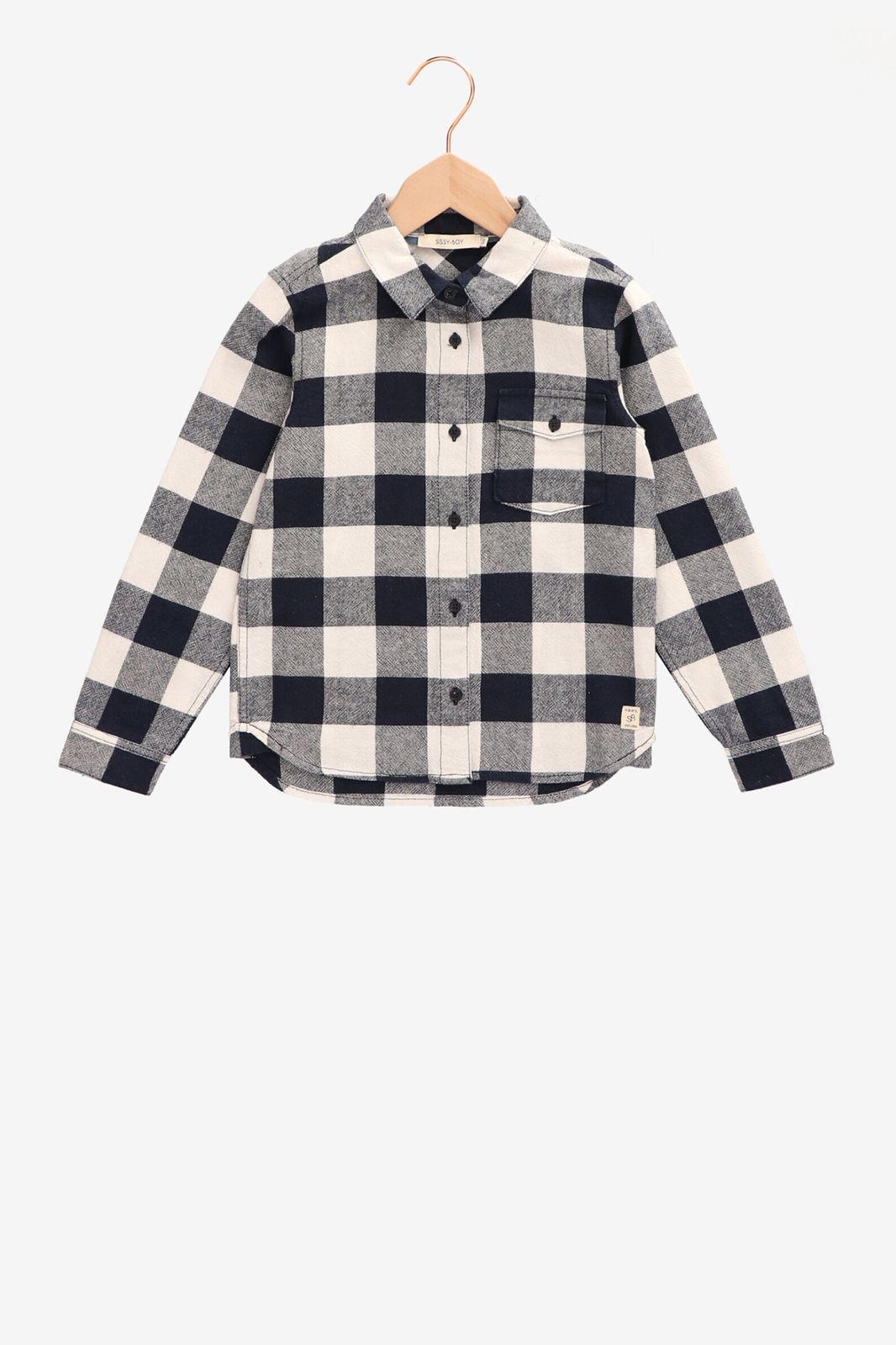 Geblokt overhemd met borstzakje