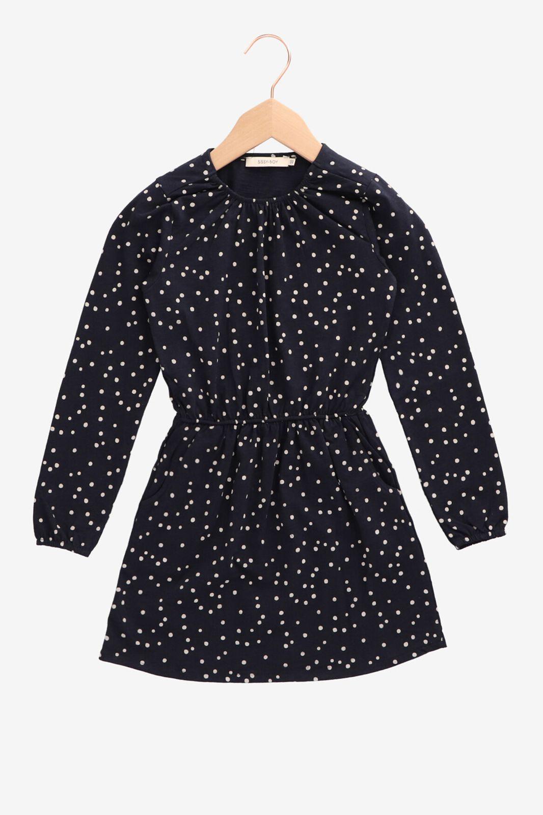 Donkerblauw jurkje witte dots - Kids | Sissy-Boy