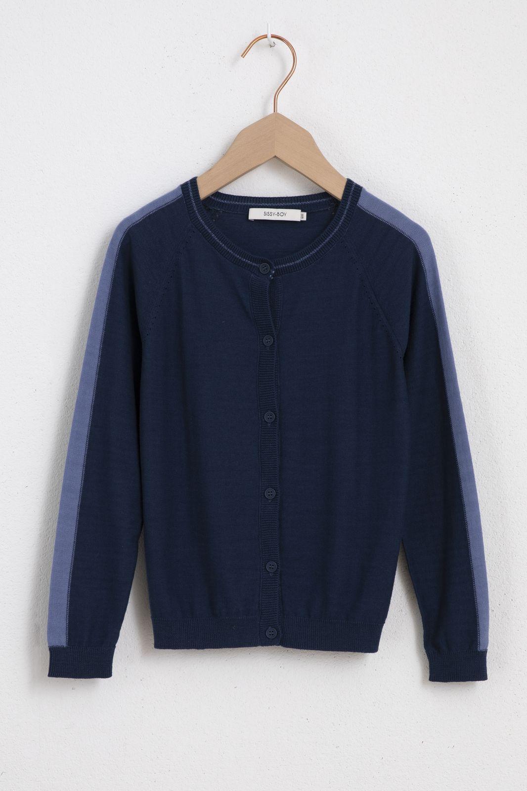 Donkerblauw vest met contrasterend detail