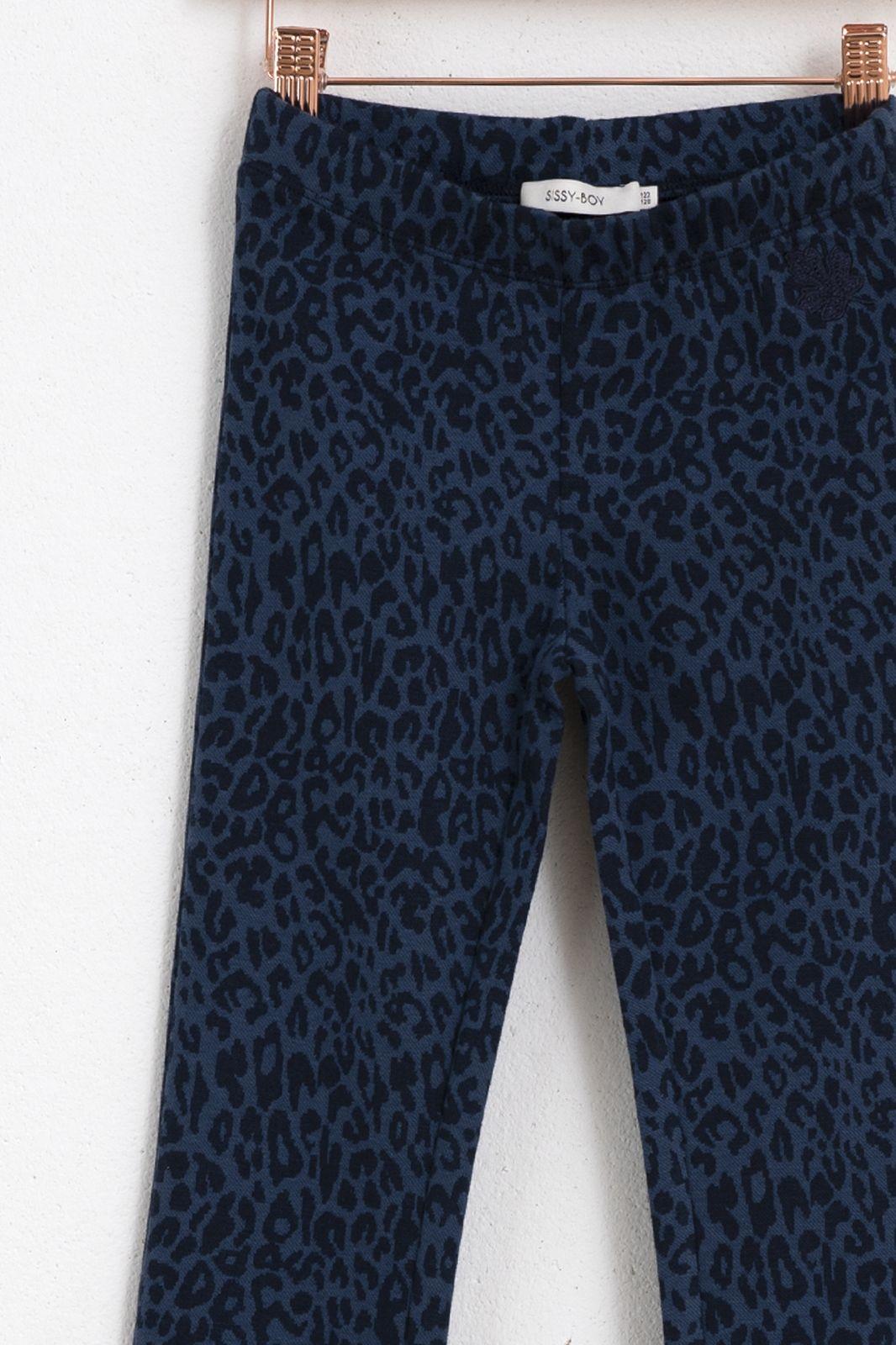Blauwe flared legging luipaard - Kids   Sissy-Boy
