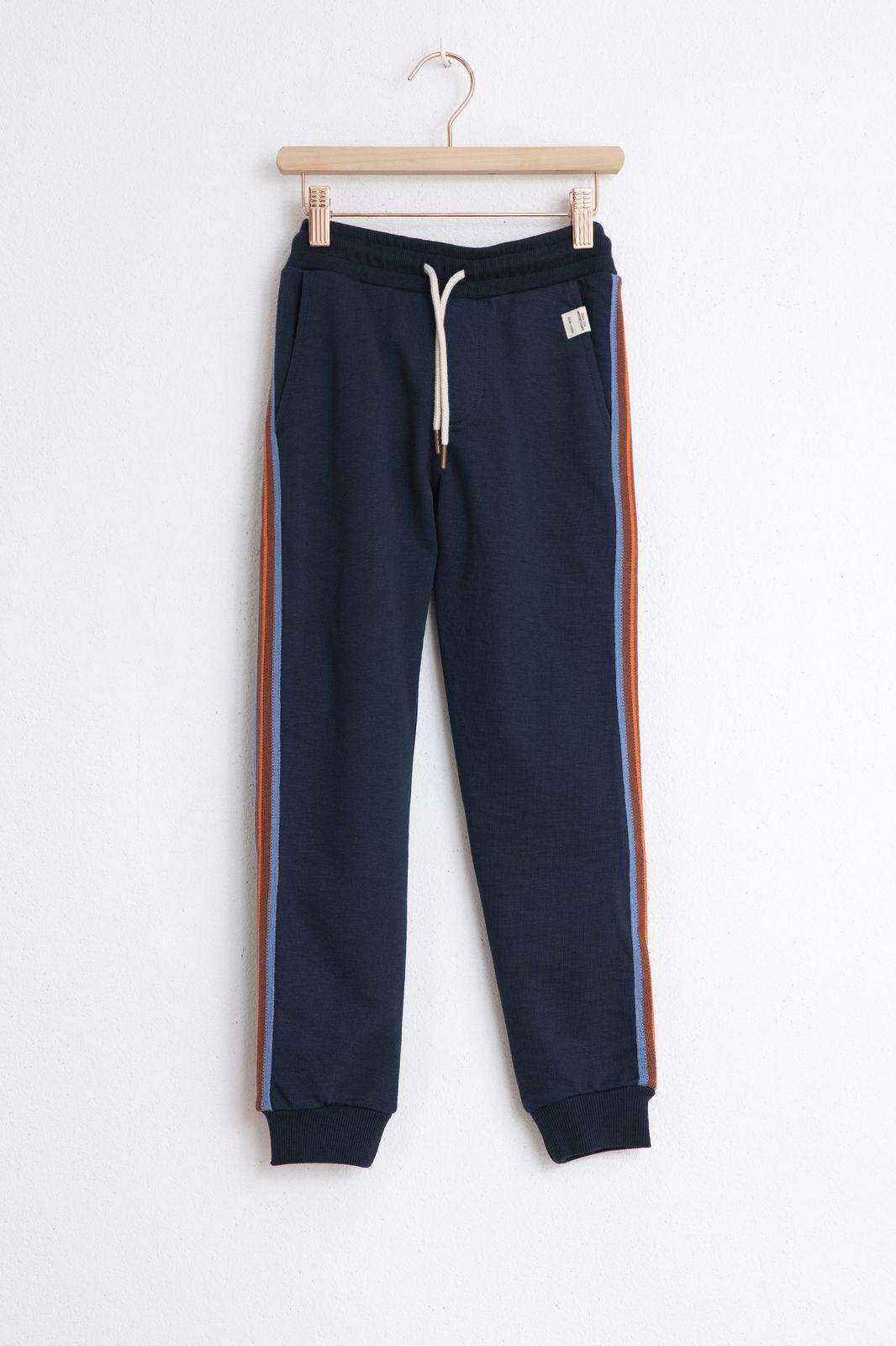 Blauwe sweat broek met streep