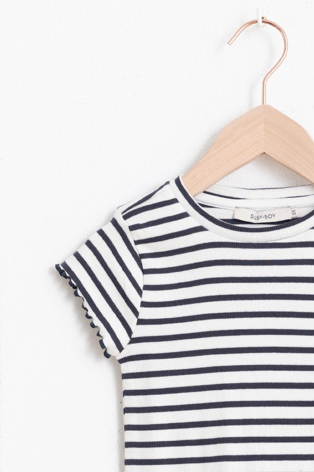 Gestreept rib T-shirt met korte mouw