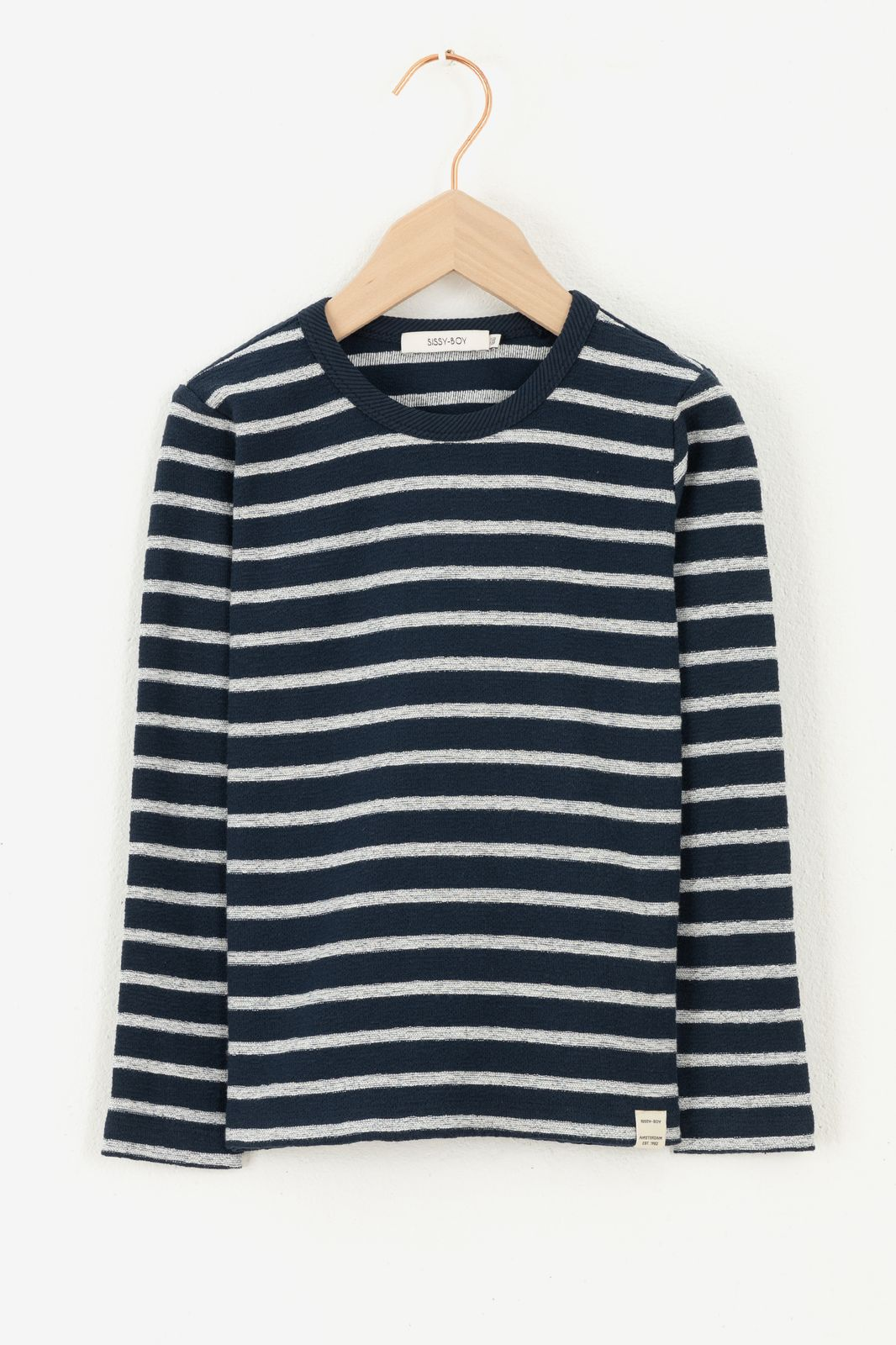 Donkerblauw gestreept T-shirt met lange mouw