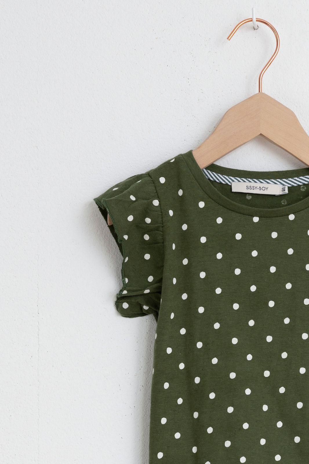 Donkergroen t-shirt dots