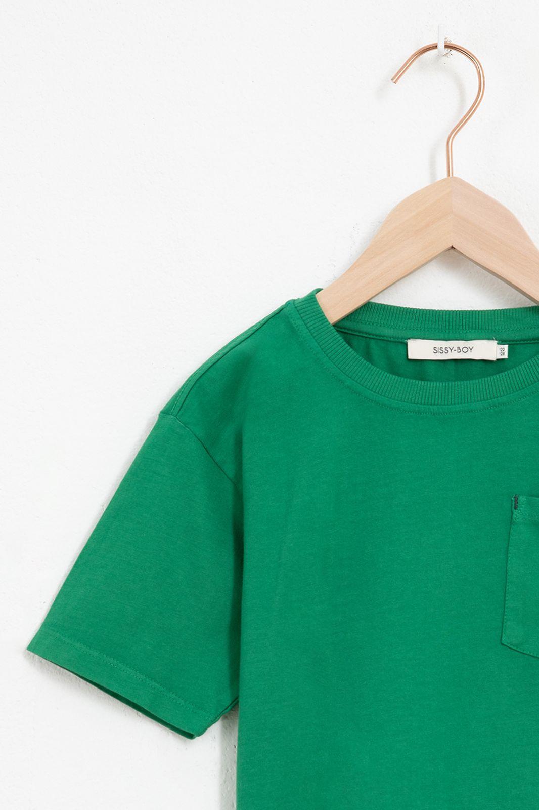 Donkergroen katoenen t-shirt met korte mouw