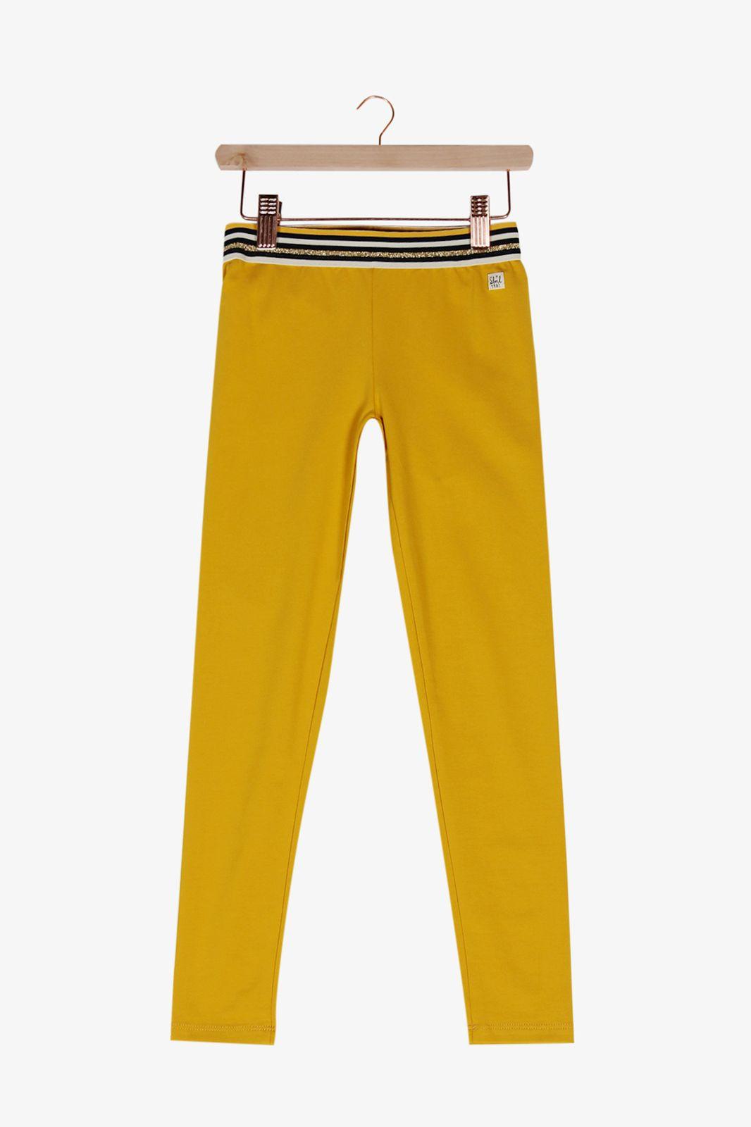 Gele legging met bewerkte stretch band