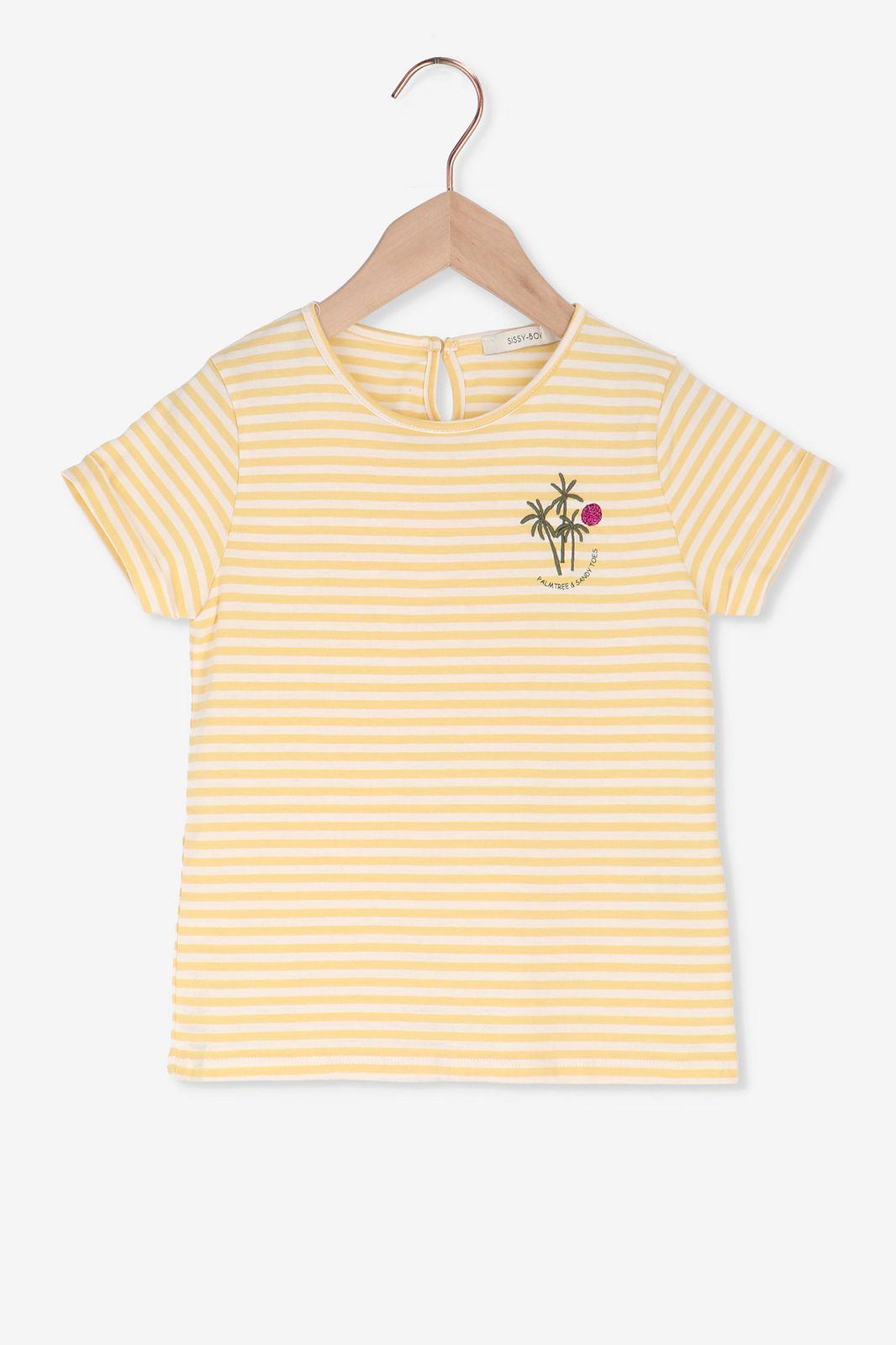 Geel gestreept t-shirt met palmbomen