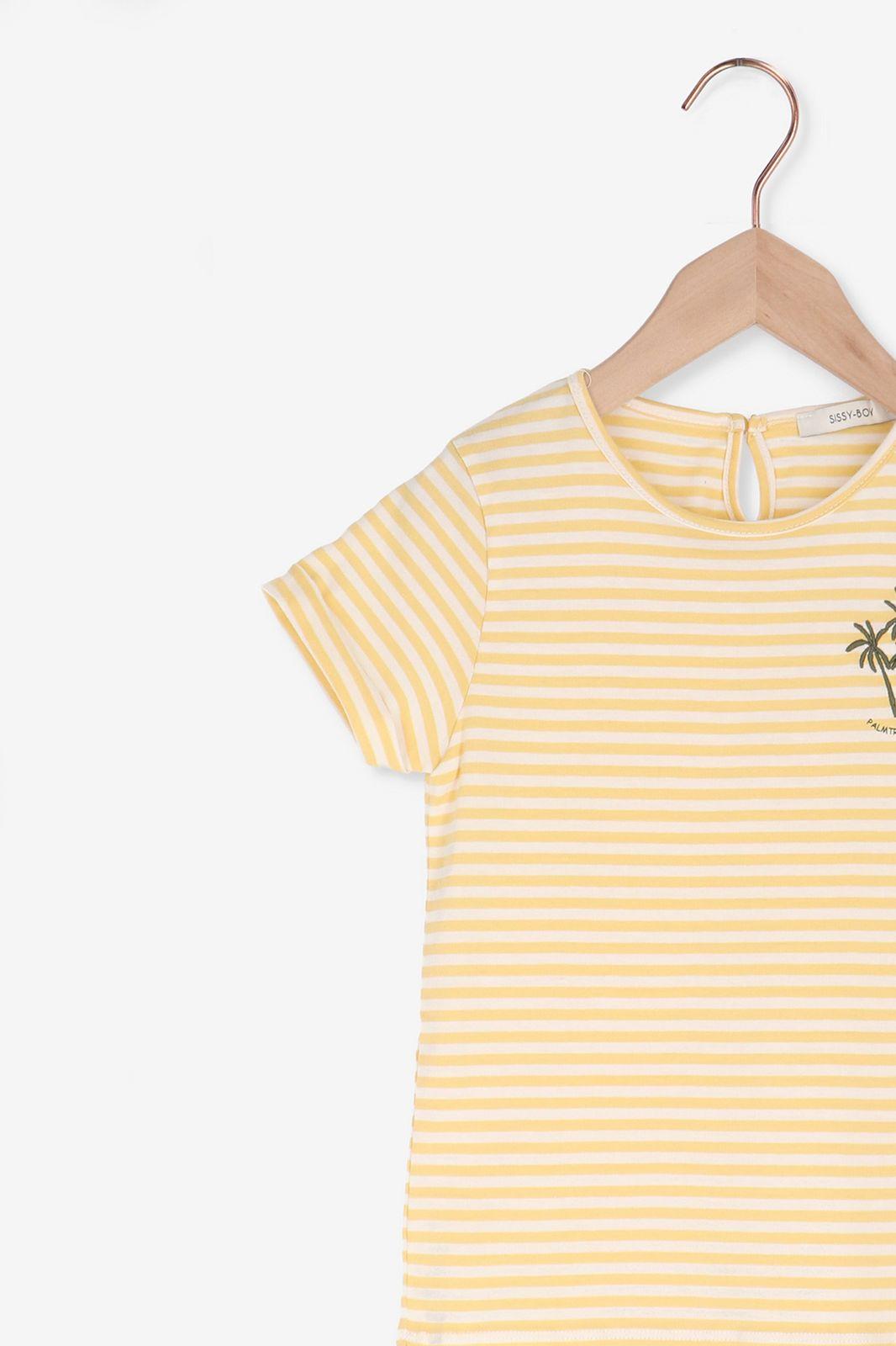 Geel gestreept t-shirt met palmboom borduursel - Kids | Sissy-Boy