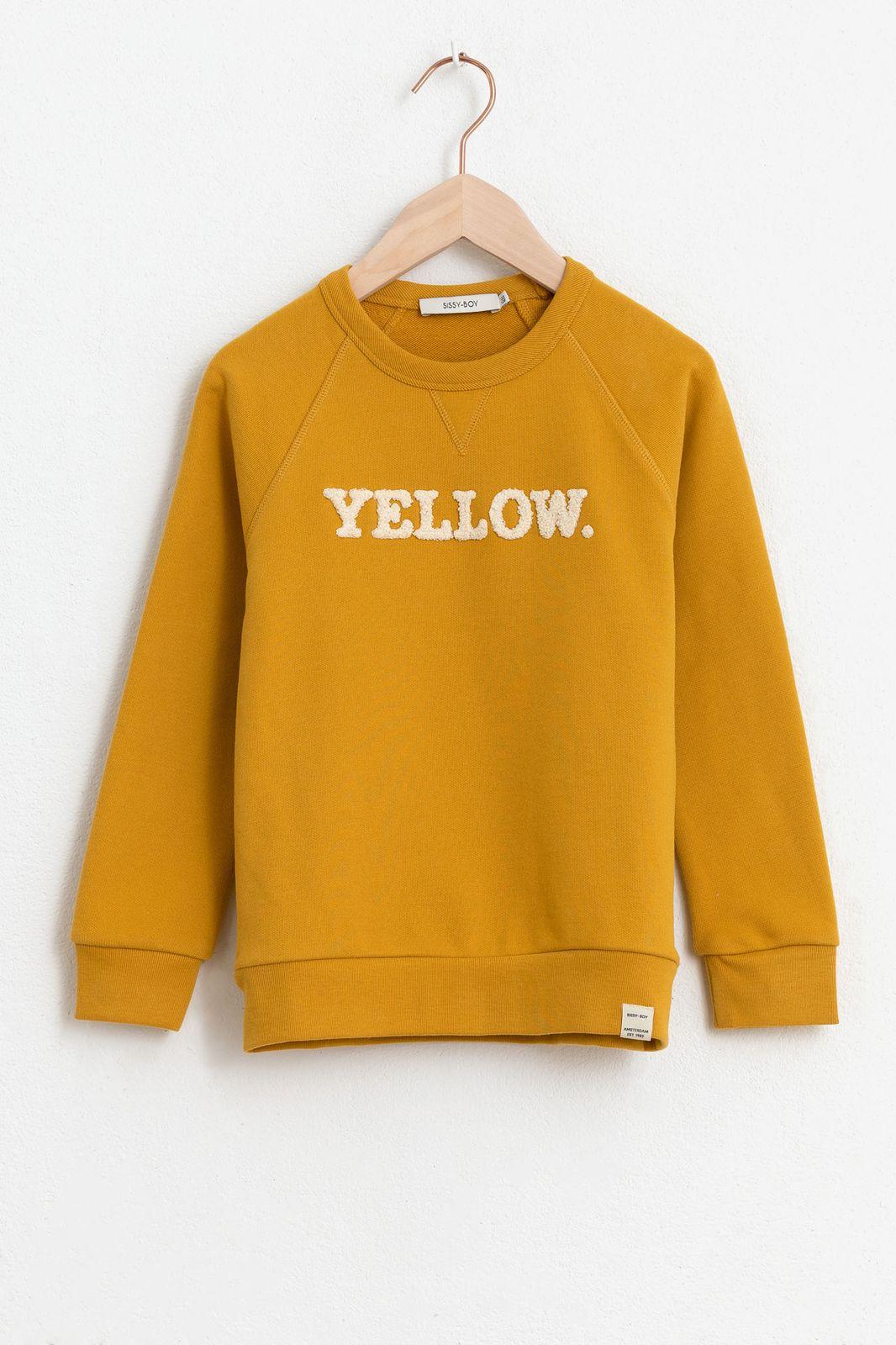 Gele sweater met tekst