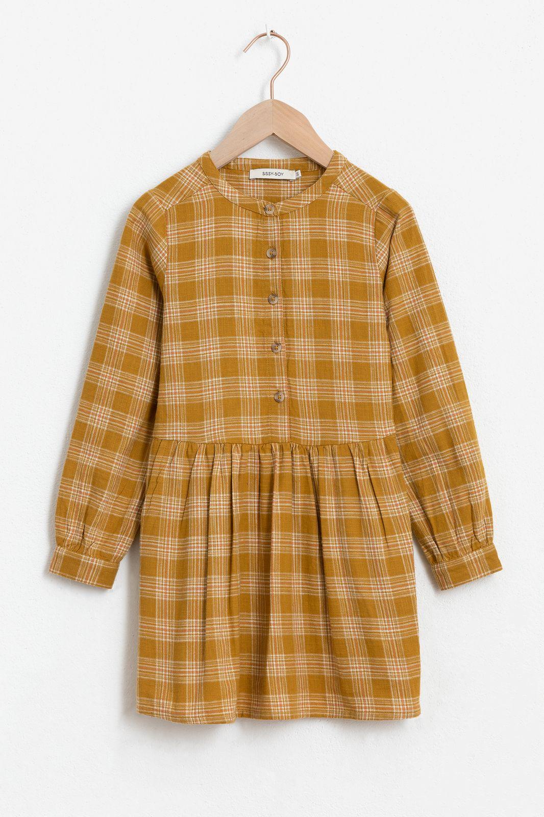 Gele jurk geruit met lange mouw
