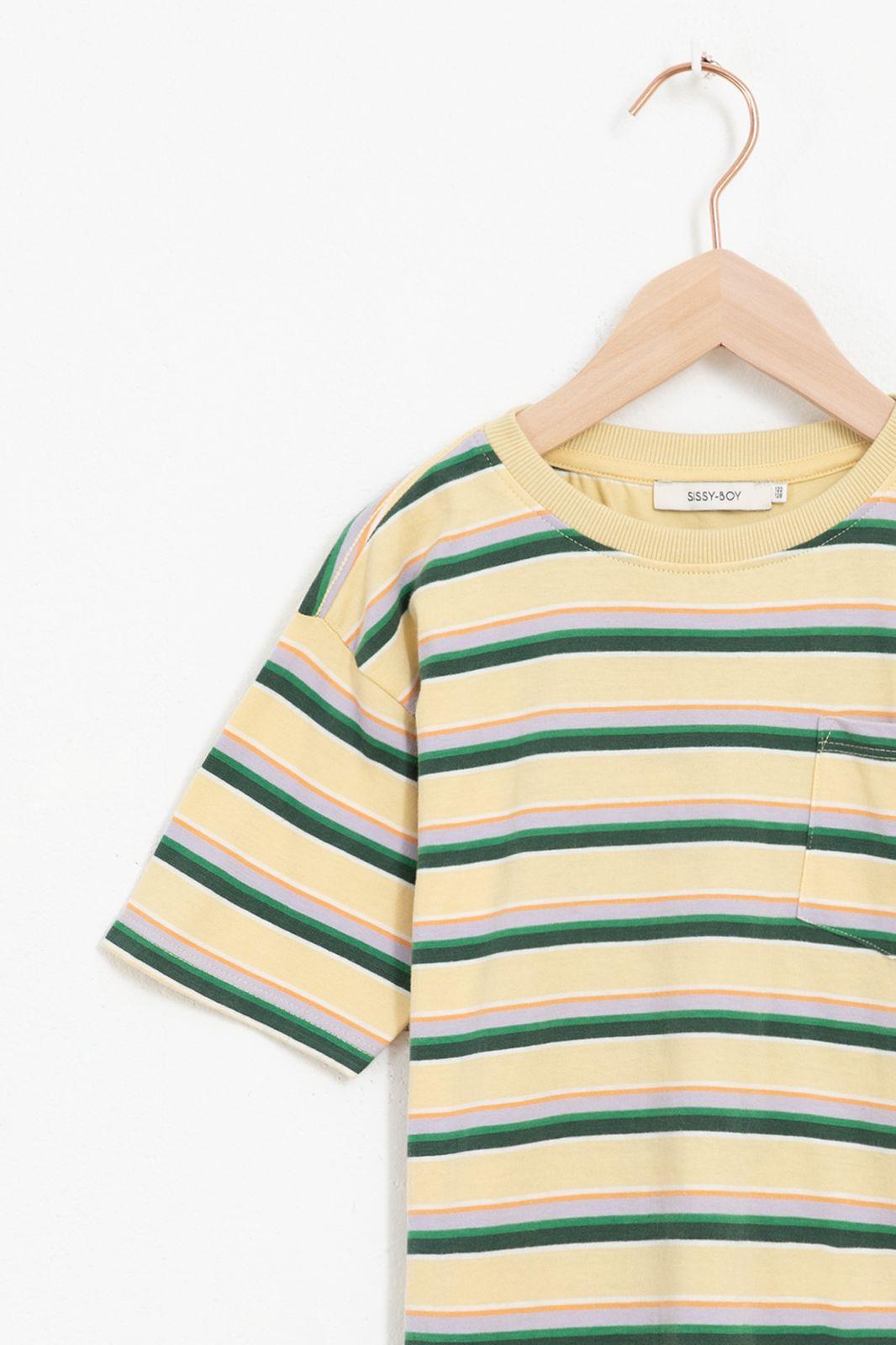 Multicolor gestreept t-shirt met borstzakje - Kids | Sissy-Boy
