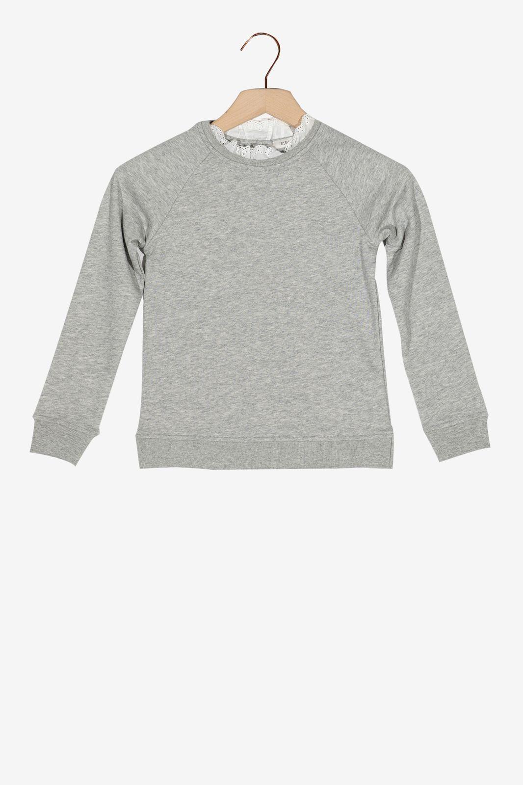 Grijze sweater met wit kraagje