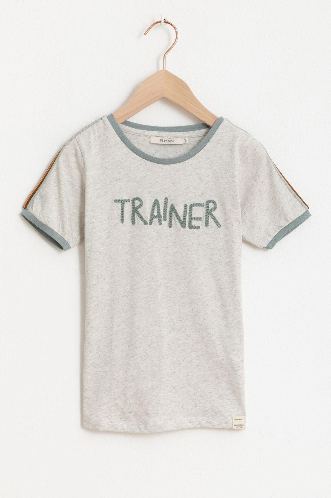 Grijs T-shirt met korte mouwen en tekst