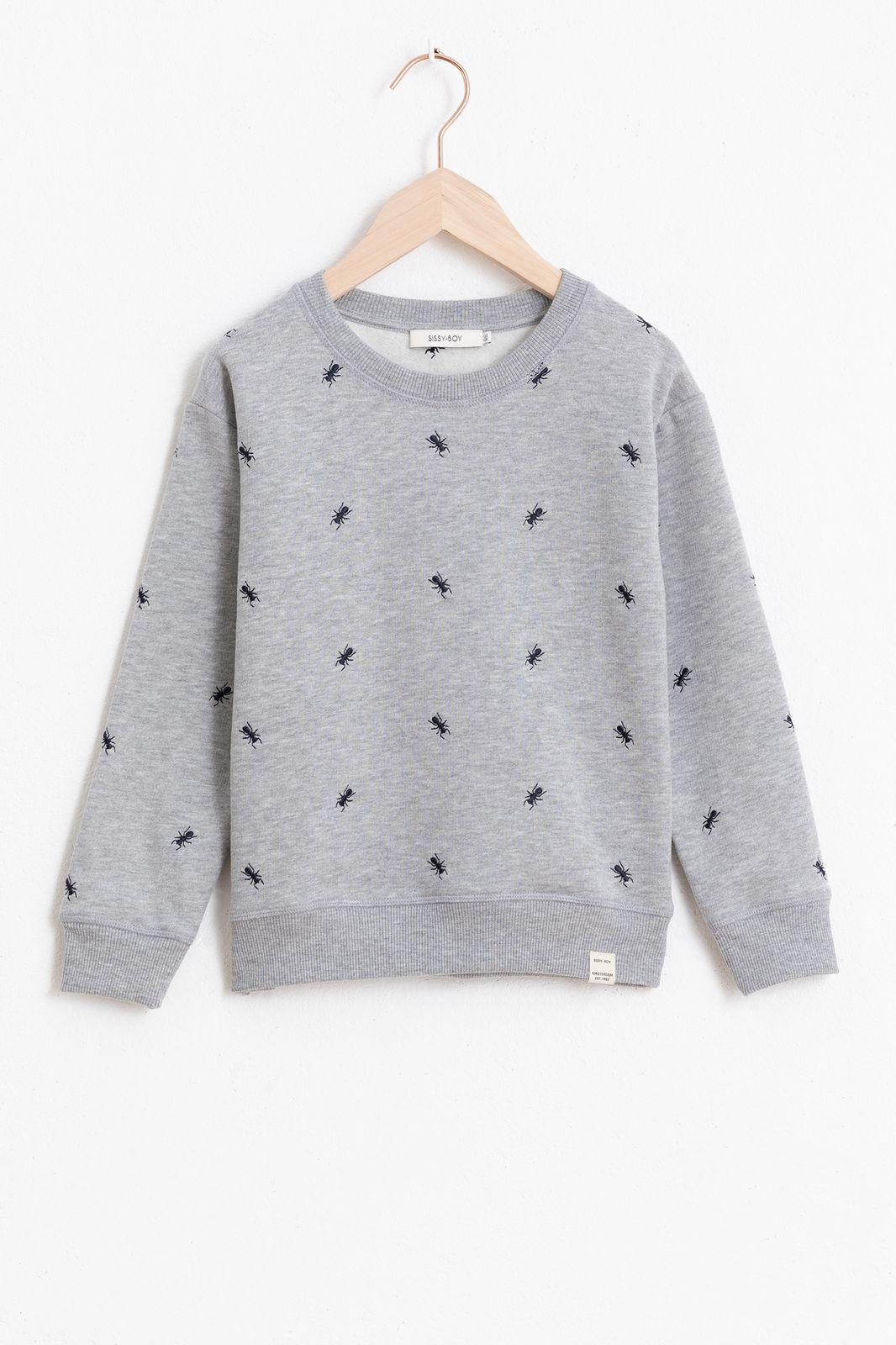 Grijze sweater met all over borduursel