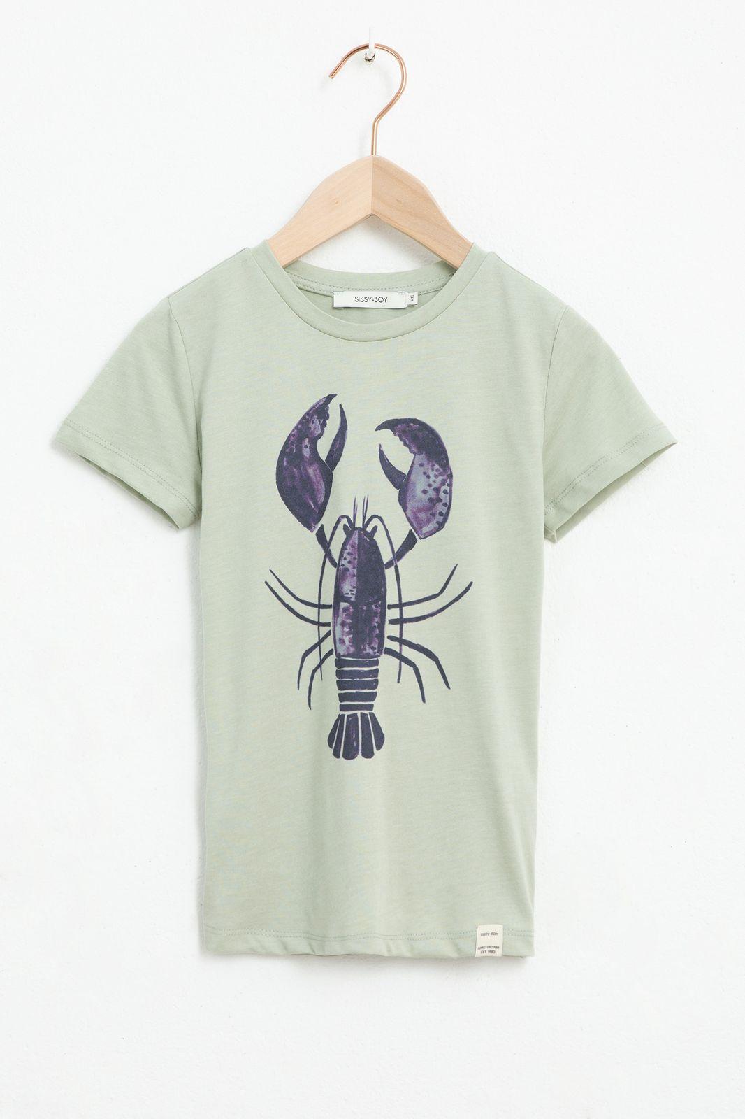 Grijs T-shirt met kreeft artwork en korte mouw
