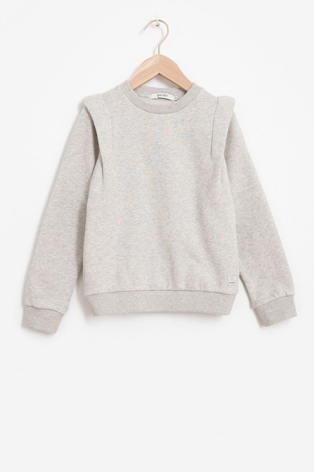 Grijze sweater met schouderdetail girls - Kids   Sissy-Boy