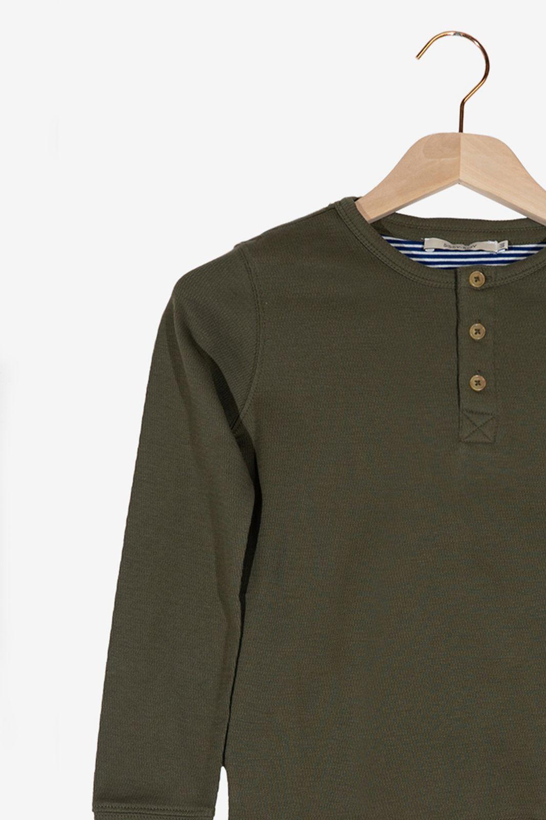 Donkergroen T-shirt met lange mouwen en knoopjes - Kids | Sissy-Boy