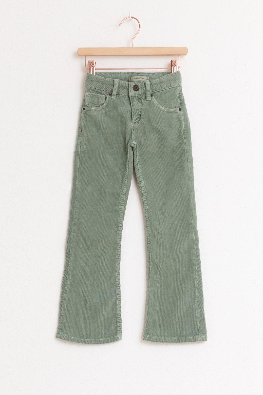 Groene corduroy flare broek