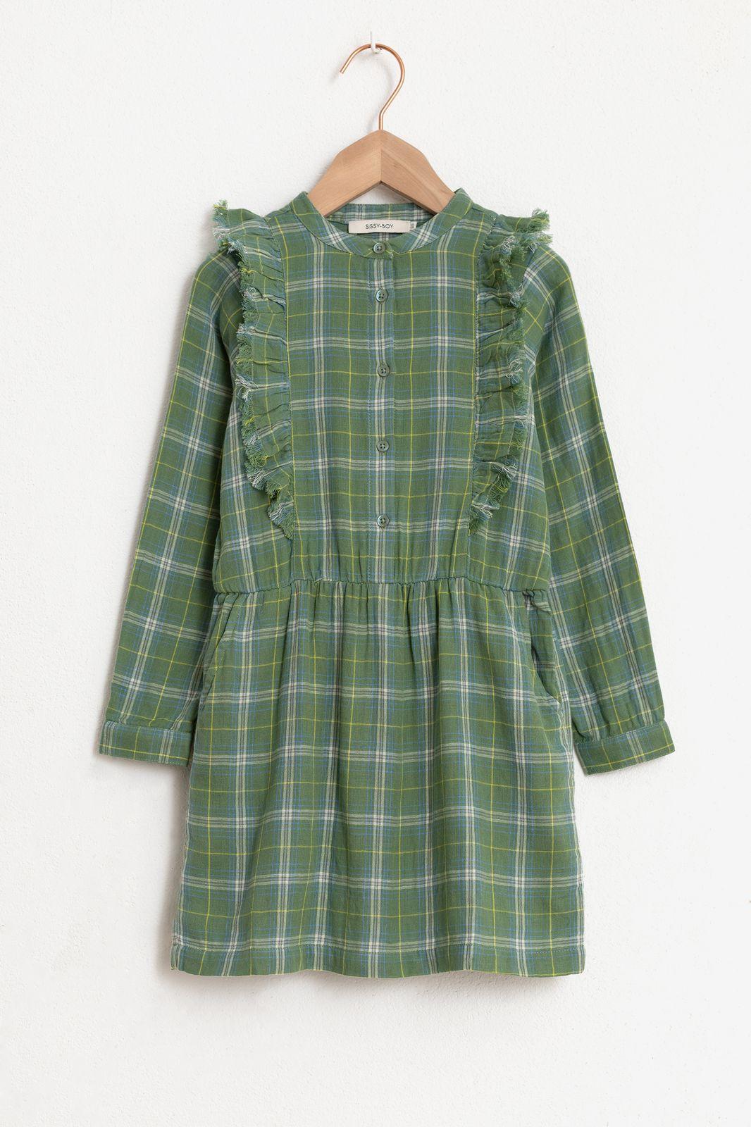 Groene jurk met lange mouw en ruitjes - Kids | Sissy-Boy