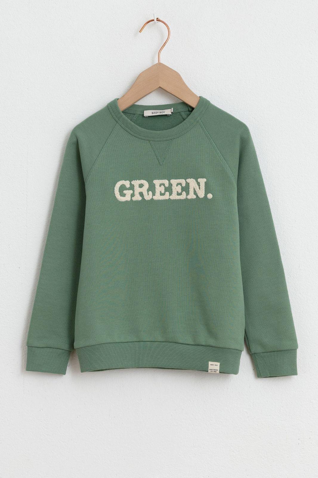 Groene sweater met tekst - Kids | Sissy-Boy