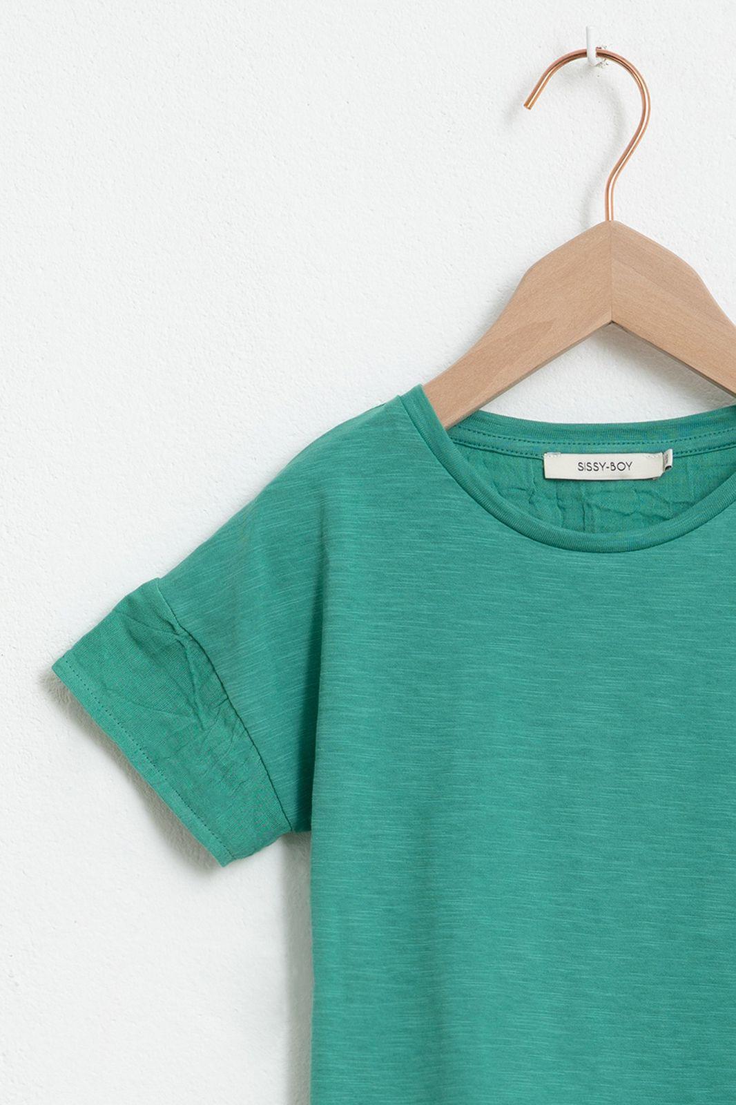 Groen T-shirt met korte ruffle mouwen - Kids | Sissy-Boy