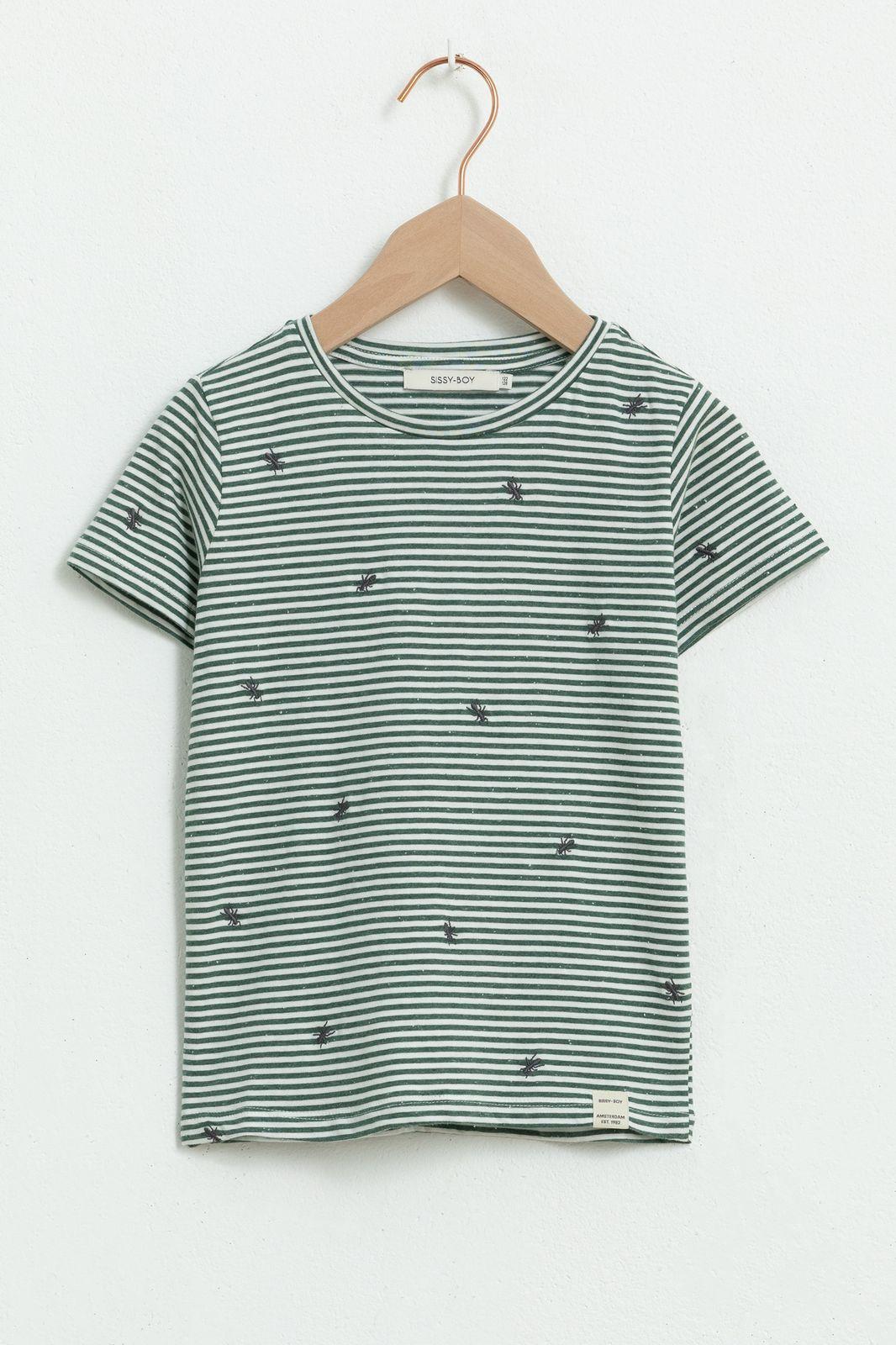 Groen gestreept T-shirt met korte mouw en all over insectenprint - Kids | Sissy-Boy