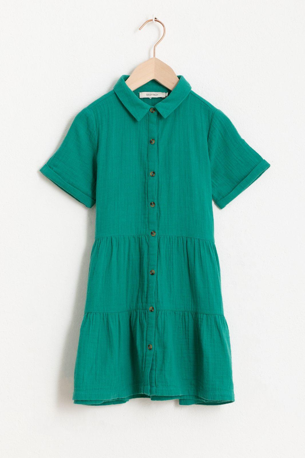 Groen jurkje met korte mouw en ruffle details