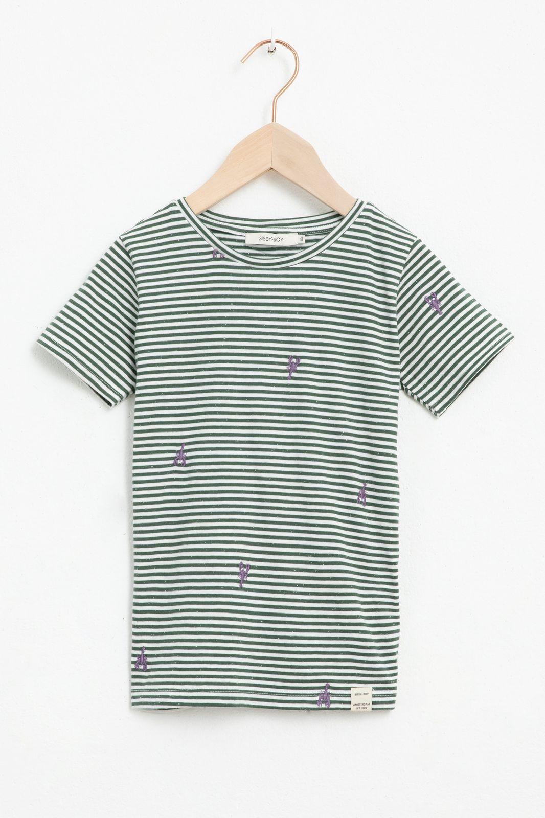 Groen gestreept T-shirt met korte mouw en all over geborduurde kreeftjes - Kids | Sissy-Boy