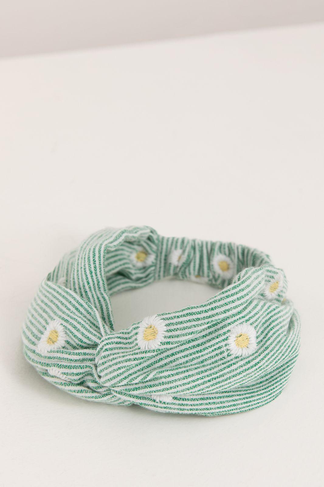 Groen gestreepte haarband met madeliefjes - Kids | Sissy-Boy