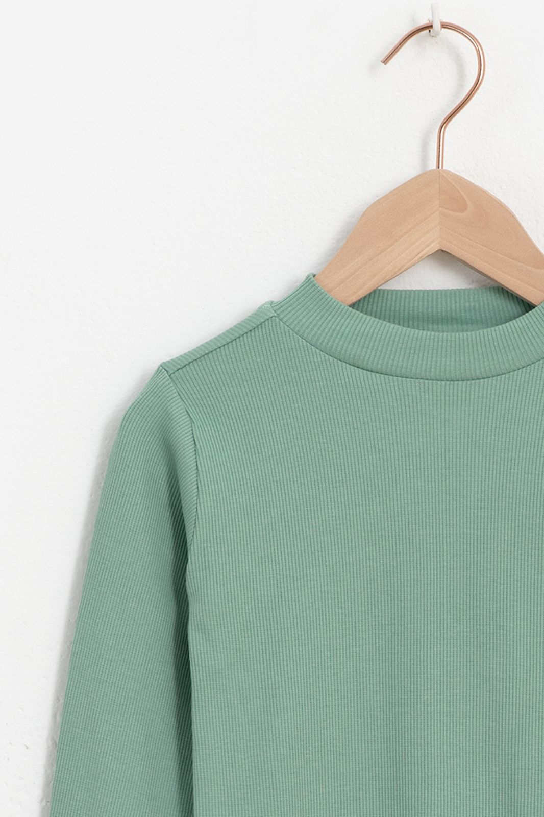 Groen rib t-shirt met lange mouwen - Kids   Sissy-Boy