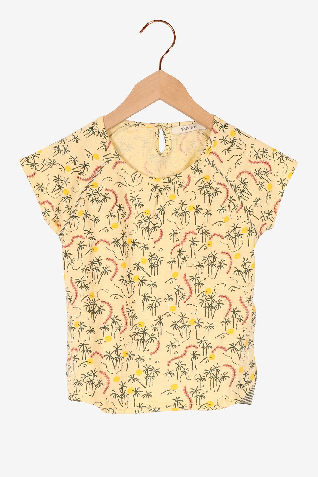 Lichtgeel t-shirt met tropische print - Kids   Sissy-Boy