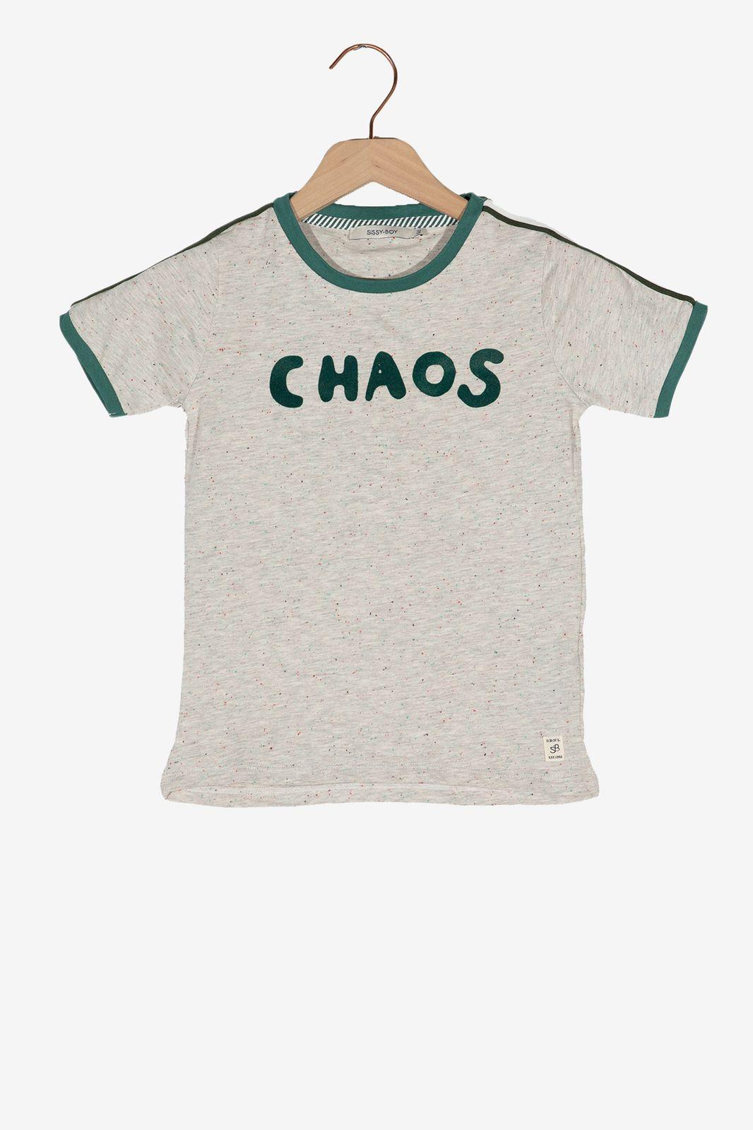 Lichtgrijs t-shirt met groene details